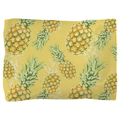 Tropical Pineapple on Pastel Yellow Pillow Sham