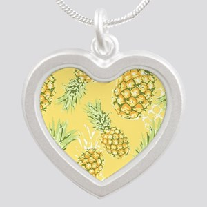 Tropical Pineapple on Pastel Silver Heart Necklace