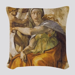 Michelangelo Delphic Sibyl Woven Throw Pillow
