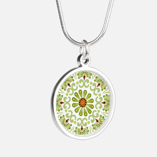 Green Mandala Silver Round Necklace