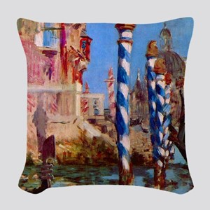 Manet Grand Canal in Venice Woven Throw Pillow