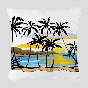 Beautiful Beach Woven Throw Pillow