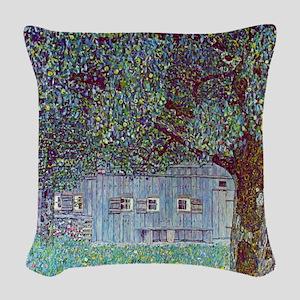 Klimt Farmhouse In Austria Woven Throw Pillow