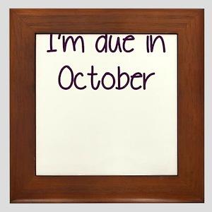 IM DUE IN OCTOBER PURPLE Framed Tile