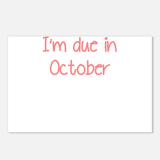 IM DUE IN OCTOBER PINK Postcards (Package of 8)