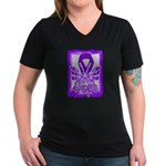 Hope Butterfly GIST Cancer Women's V-Neck Dark T-S