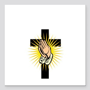 "Hands in Prayer Square Car Magnet 3"" x 3"""