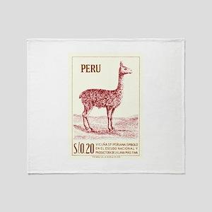 Antique 1953 Peru Vicuna Postage Stamp Throw Blank