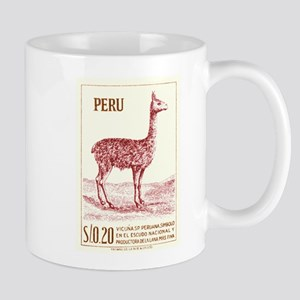 Antique 1953 Peru Vicuna Postage Stamp Mug