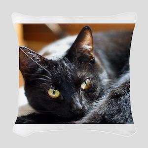 Sleek Black Cat Woven Throw Pillow