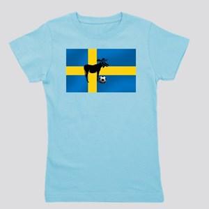 Swedish Soccer Elk Flag Girl's Tee