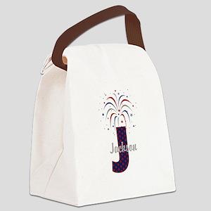 4th of July Fireworks letter J Canvas Lunch Bag
