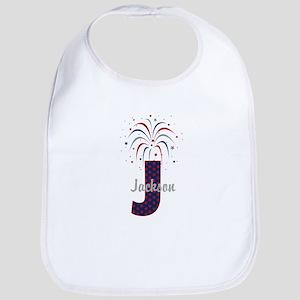 4th of July Fireworks letter J Bib