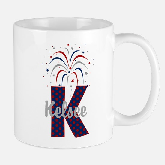 4th of July Fireworks letter K Mug