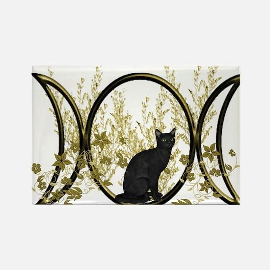 Triple Moon Art Series Cat Rectangle Magnet