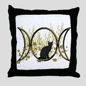 Triple Moon Art Series Cat Throw Pillow