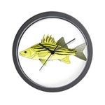 Yellow Bass fish 2 Wall Clock