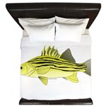 Yellow Bass fish 2 King Duvet
