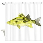 Yellow Bass fish 2 Shower Curtain