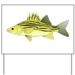 Yellow Bass fish 2 Yard Sign