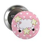 Lamb on Pink Hearts Button