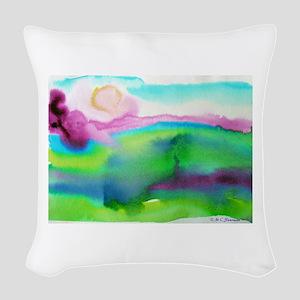 landscape, colorful art! Woven Throw Pillow