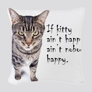 Aint Happy Woven Throw Pillow
