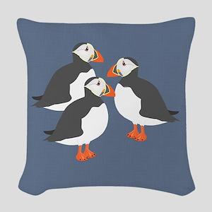Puffin Woven Throw Pillow