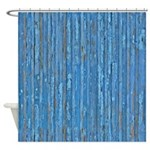 Old Distressed Blue Painted Wood Shower Curtain