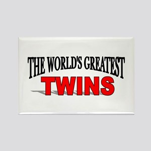 """The World's Greatest Twins"" Rectangle Magnet"