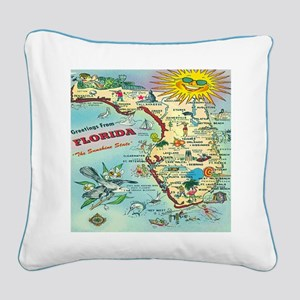 Vintage Florida Map Square Canvas Pillow