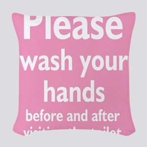 wash-hands,pink Woven Throw Pillow