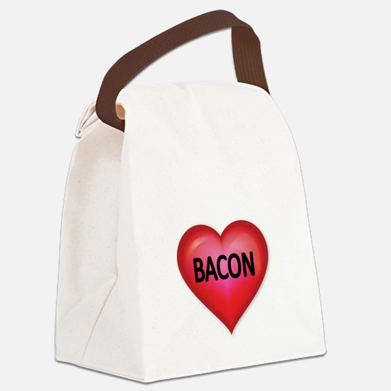 Red heart with BACON Canvas Lunch Bag