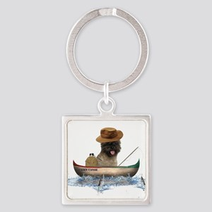 Cairn Terrier Fishing Square Keychain