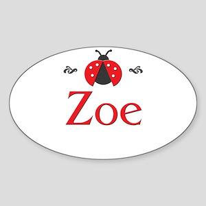 Red LadyBug - Zoe Oval Sticker