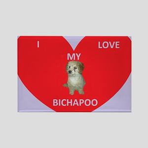 I LOVE MY BICHAPOO Rectangle Magnet