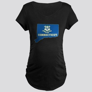 Connecticut Flag Maternity Dark T-Shirt