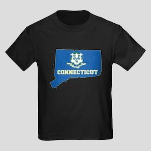 Connecticut Flag Kids Dark T-Shirt