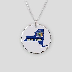 New York Flag Necklace Circle Charm