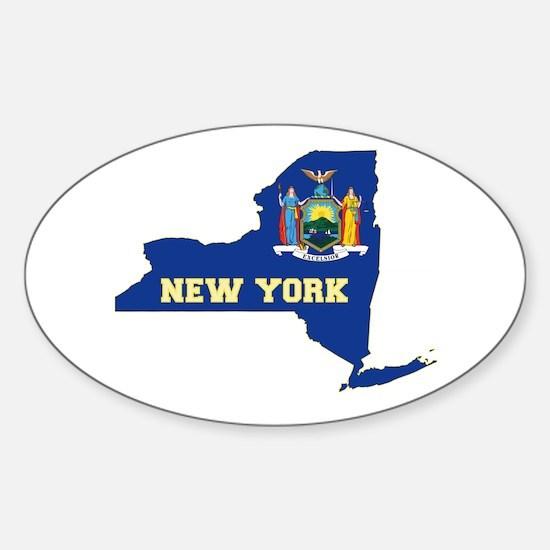 New York Flag Sticker (Oval)