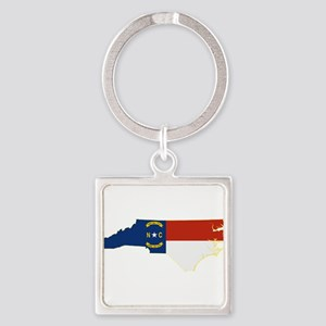 North Carolina Flag Square Keychain