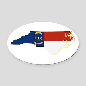 North Carolina Flag Oval Car Magnet