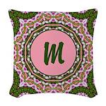 Vidalia Pink Monogram Woven Throw Pillow