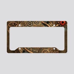 Steampunk, clockwork with gears License Plate Hold