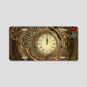 Steampunk, clockwork with gears Aluminum License P