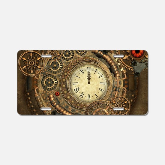 Steampunk, clockwork with gears Aluminum License P