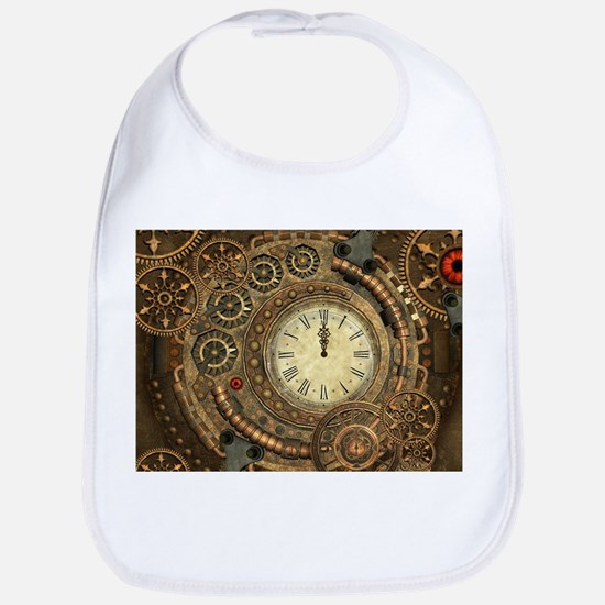 Steampunk, clockwork with gears Baby Bib