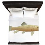 White Sucker fish 2 King Duvet
