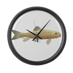 White Sucker fish 2 Large Wall Clock