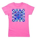 Blue Quilt Watercolor Girl's Tee